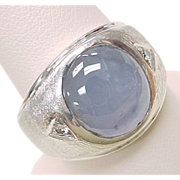Gents Natural Star Sapphire Ring  14k White Gold Diamond Accent