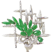 WOW Apple Green JADE & Diamond Brooch 18k White Gold