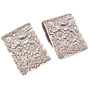 Sterling Silver Napkin Clips (2) Repousse S. Kirk & Son