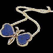 Lapis Lazuli 18k Gold Butterfly Necklace, European c. 1950's