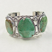 Navajo Gents Cuff Bracelet BIG Green Turquoise Sterling Silver