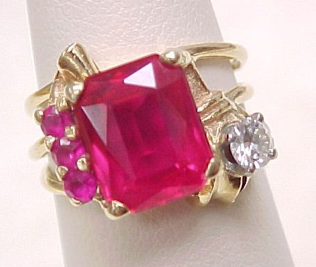 Retro RUBY & Diamond Ring 14k Gold 3 .13 Carats Total Weight