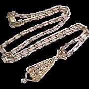Victorian Revival Lavaliere Necklace Diamond & Sapphire 14k Gold