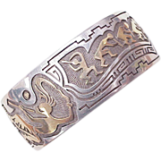 Navajo Cuff Bracelet 14k Gold & Sterling Silver, Kokopelli by Leroy Thomas / Turquoise