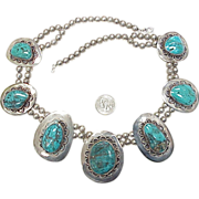 MASSIVE Native American Necklace Turquoise & Sterling Silver