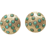 Persian Turquoise 18k Gold Earrings Clip Back 1950's