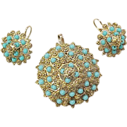 Vintage Persian Turquoise Set Pendant & Earrings 14k Gold