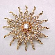 Victorian Brooch / Pendant Celestial SUN Diamond Seed Pearl 14k Gold