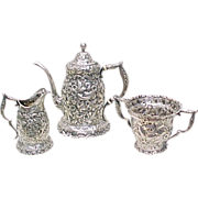 Whiting Sterling Silver Tea Set Full Repousse  Floral Chased