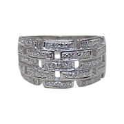 Wide Diamond Link Band 18k White Gold