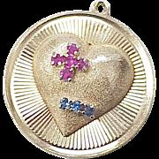 LARGE Romantic Charm 1950's 14k Gold Jeweled Heart