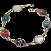 Vintage Scarab Beetle Bracelet 14k Gold, Multiple Gemstone