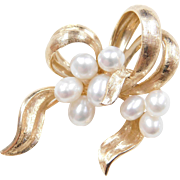 Vintage Bow Brooch 14k Gold Cultured Pearl