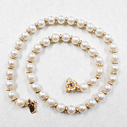 Necklace 8 mm Cultured Pearl & 14k Gold With Sapphire Clasp