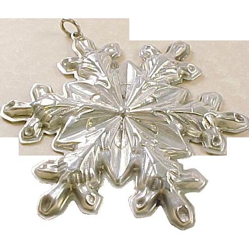 Vintage Sterling Silver Gorham 1973 Snowflake Ornament/Pendant