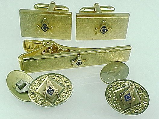 Vintage Anson Gold Filled Masonic Tie Bar, Cuff Links, French Buttons Matching Set