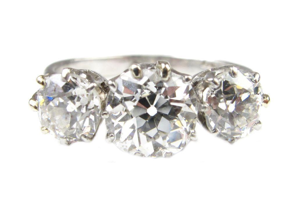 Platinum Edwardian Three Stone Diamond Engagement Ring 2 CARATS!!