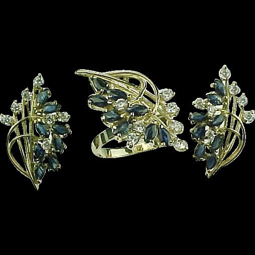 Impressive 5.76 ctw Sapphire Ring & Earrings Matching Set 10k Yellow Gold