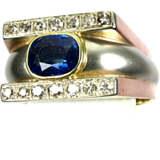 Vintage Tri-Colored Gold Sapphire & Diamond Men's Ring