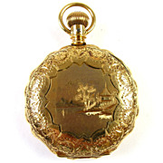 14k Gold Scalloped Ladies Elgin Pocket Watch