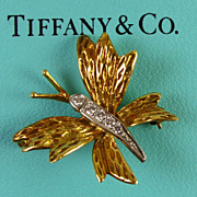 Tiffany & Co. 18k Gold, Platinum & Diamond Butterfly Brooch