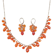 Vintage 14k Gold Carnelian Necklace and Earrings Set