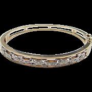 Vintage 14k Gold Two-Tone Diamond Hinged Bangle Bracelet