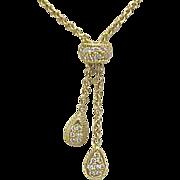 18k Gold Diamond Pave Lariat Necklace