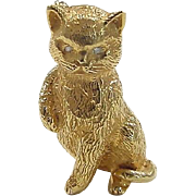 Vintage 18k Gold Cat Pin / Brooch with Diamond Eyes