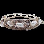 Vintage 14k Gold Diamond and Cultured Pearl Hinged Bangle Bracelet ~ Leaf Design