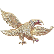 Vintage 14k Gold Ruby and Diamond Eagle Pin / Pendant