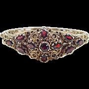 Vintage 14k Gold Garnet Hinged Bangle Bracelet