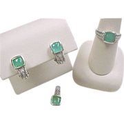 Vintage 14k White Gold Green Chalcedony and Diamond Set ~ Ring, Earrings, Pendant