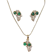 18k Gold Natural Emerald and Diamond Set 2.055 ctw ~ Earrings and Necklace ~ Vintage