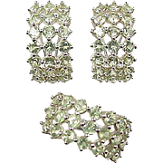 Vintage 14k White Gold 5.04 ctw Peridot Earring and Ring Set