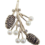 Vintage 14k Gold Pine Cone Pin ~ Cultured Pearl and Diamond Accents