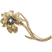 Vintage 14k Gold Sapphire and Diamond Flower Brooch / Pin