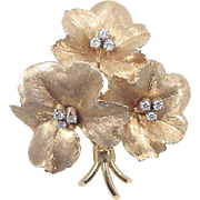 Vintage 18k Gold RETIRED Tiffany & Co .27 ctw Diamond Flower Pin / Brooch / Pendant
