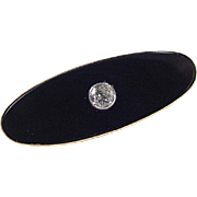 Vintage 14k Gold Onyx and .40 Carat Diamond Pin