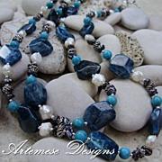 Adria: 2-Strand Blue Apatite, Turquoise, Peacock Cultured Keishi & White Cultured Biwa Pearl & Silver Necklace