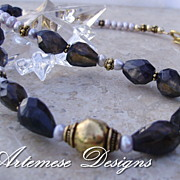 Smoky Eyes: Iolite, Lavender Cultured Pearl, Gold-Filled & Vermeil Necklace