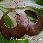 Megahoopsters: Textured Copper Hoop Earrings