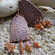 Narthex: Patterned Copper & Sunstone Chandelier Earrings