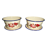 2 Floral Enamelware Over Steel Soup Bowls With Saucers