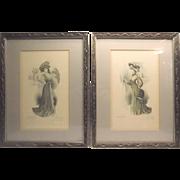 """2 Edwardian Style Colored Lithograph Fashion Dress Prints """"Les Grandes Modes de Paris"""""""