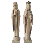 Vintage Plastic Religious Altar Pieces Christ and Mary by Star 1961