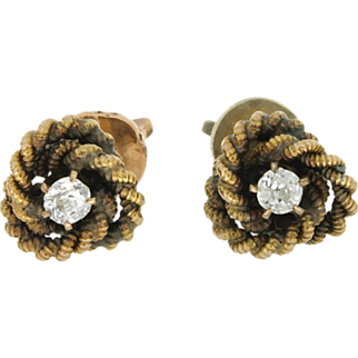 SALE Vintage 10K Old Mine Cut Diamond Earrings