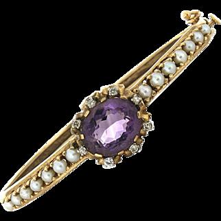 SALE 14K Amethyst, Diamond & Pearl Bangle Bracelet