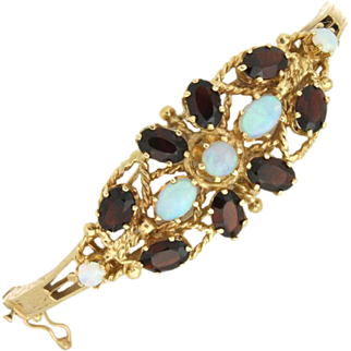 SALE 14K Opal & Garnet Bangle Bracelet