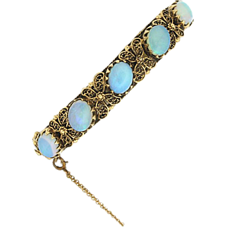SALE Vintage 14K & Opal Bangle Bracelet